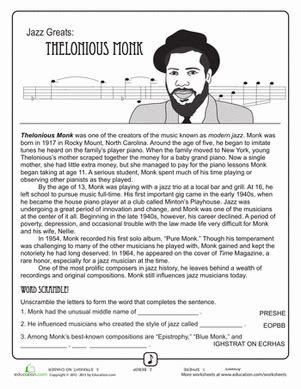 jazz greats thelonious monk worksheet education com