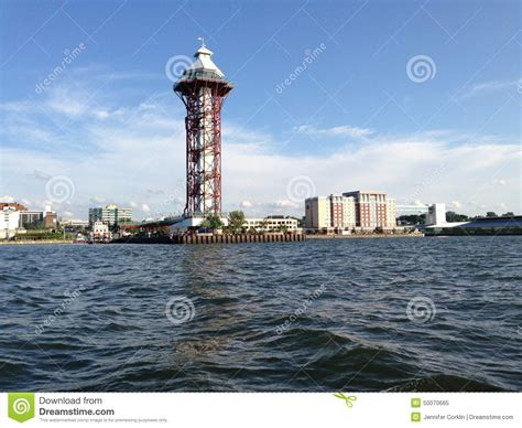 tow boat with tower up or down dobbins landing bicentennial tower erie pa stock photo