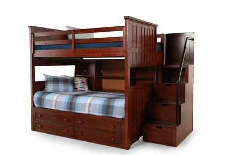 bunk bed with stairs and drawers light brown wooden bunk bed with double drawers also stairs combined with cream green