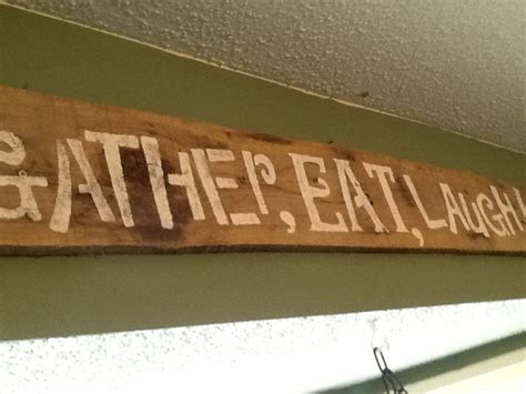 gather eat laugh wooden kitchen sign rustic kitchen by