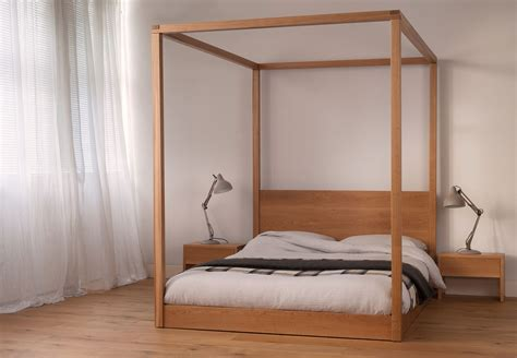 4 post bed cube modern four poster bed solid wood natural bed