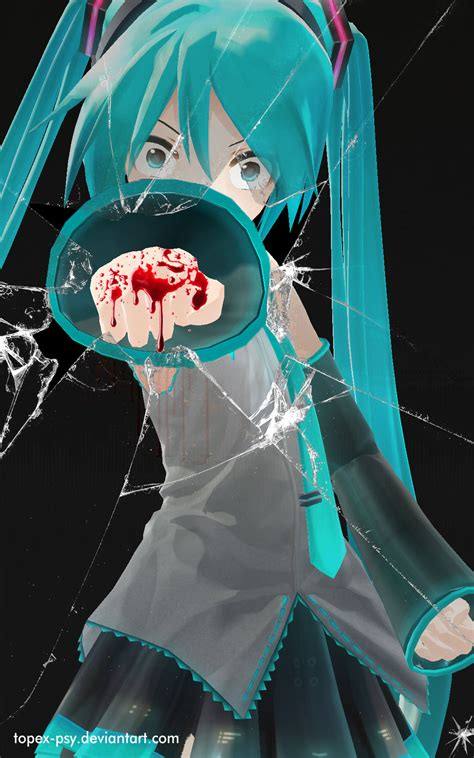 wallpaper anime on glass mmd hatsune miku punch broken glass wallpaper by topex psy