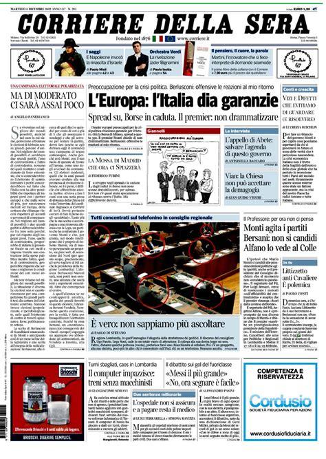 testate giornalistiche italiane la prima pagina marted 236 11 dicembre 2012 canalesicilia