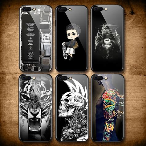 cool skull tiger tempered glass case  iphone