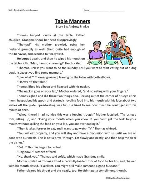 reading comprehension worksheet table manners