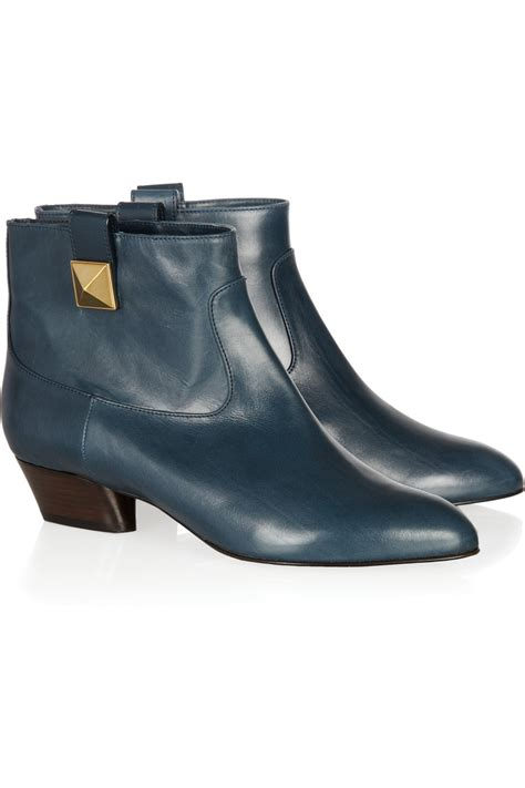 marc leather ankle boots in blue petrol lyst