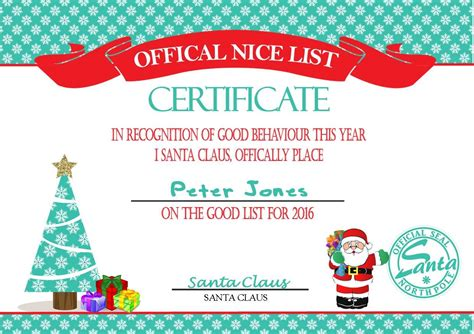 personalised santa s nice list certificate design 2