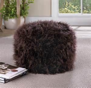 fuzzy soft fabric pouf ottoman chair living room kids room