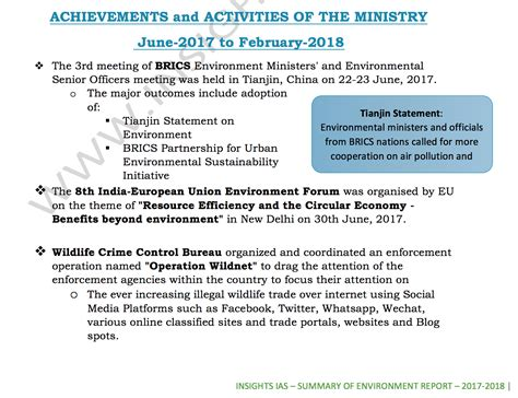 summary  environment reports updated      important  upsc ias
