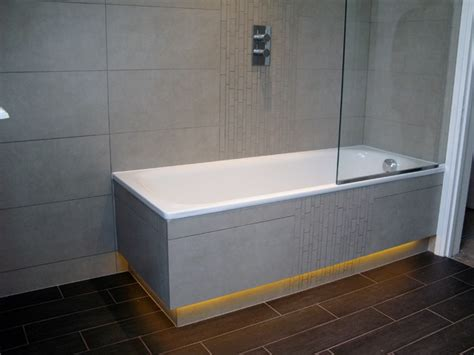 tiled panels bathroom tiled bath panels with recessed led lighting below plinth