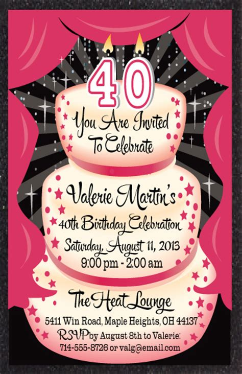 40th birthday invitations theruntime