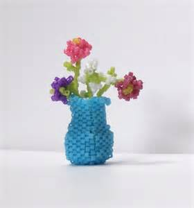 Bead Vase by Miniature Beaded Vase Flowers Sculpture