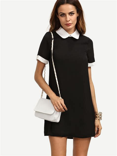 White Texture Collar Dress Size Sml contrast pan collar dress shein sheinside