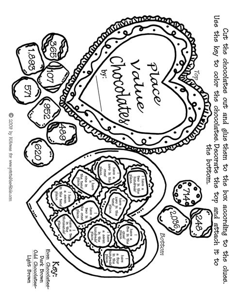 valentine math coloring page valentine math place values activity sheet printables