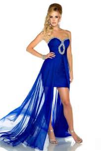 high low strapless royal blue chiffon beaded homecoming