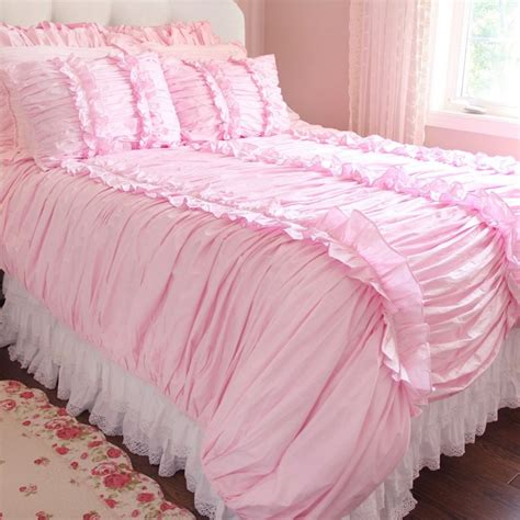 pink ruched comforter ruffle bedding