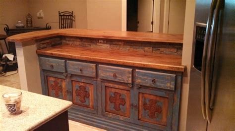 pecan raised bar with curved end rustic kitchen