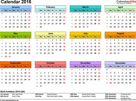 2016 Calendar By Month Excel Calendar 2016 Uk 16 Printable Templates Xls Xlsx