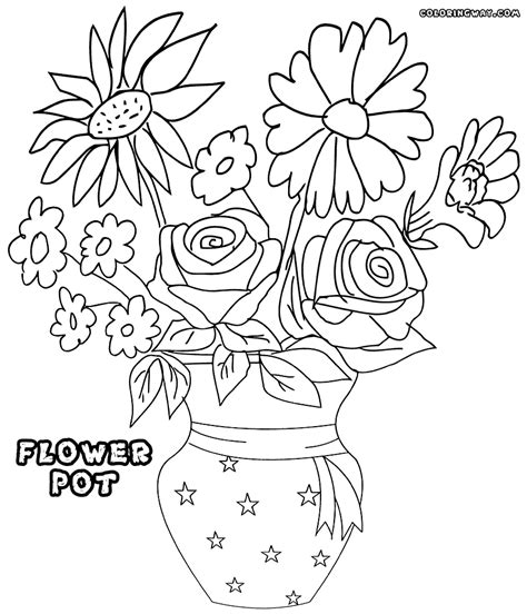 coloring pages of flowers in a pot flower pot coloring page coloring coloring pages