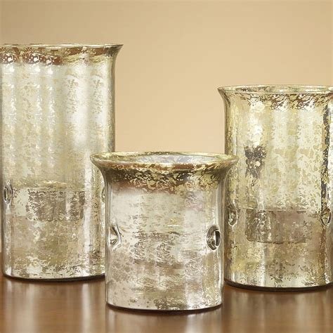 Set Of 3 Glass Candle Holders Set Of Three Mercury Glass Candle Holders Traditional