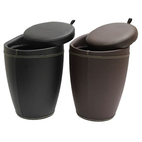 faux leather storage ottoman stool box tub barrel