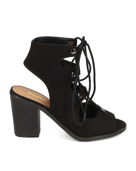 soda shoes for shoes soda ef27 suede peep toe gilly tie block heel