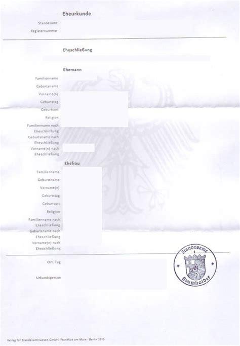 German marriage certificate template