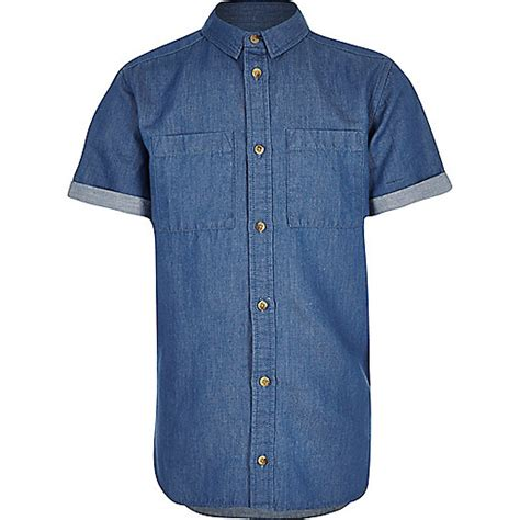 Boy Denim Shirt boys blue sleeve denim shirt plain shirts shirts