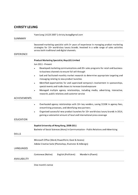 Marketing Specialist Sle Resume by Product Marketing Specialist Cv Ctgoodjobs Powered By Career Times