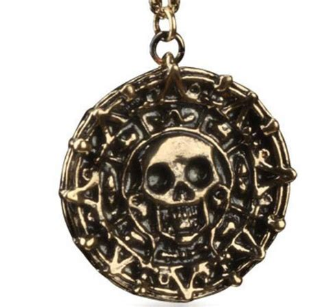 Of The Caribbean Gold Skull Coin Necklace wholesale of the caribbean aztec gold coin