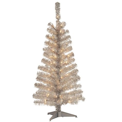 national tree company 4 ft silver tinsel artificial