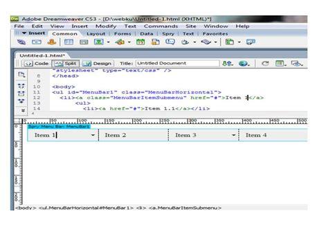 tutorial membuat dropdown menu spry menu bar horizontal welcome to my blog belajar dreamweaver