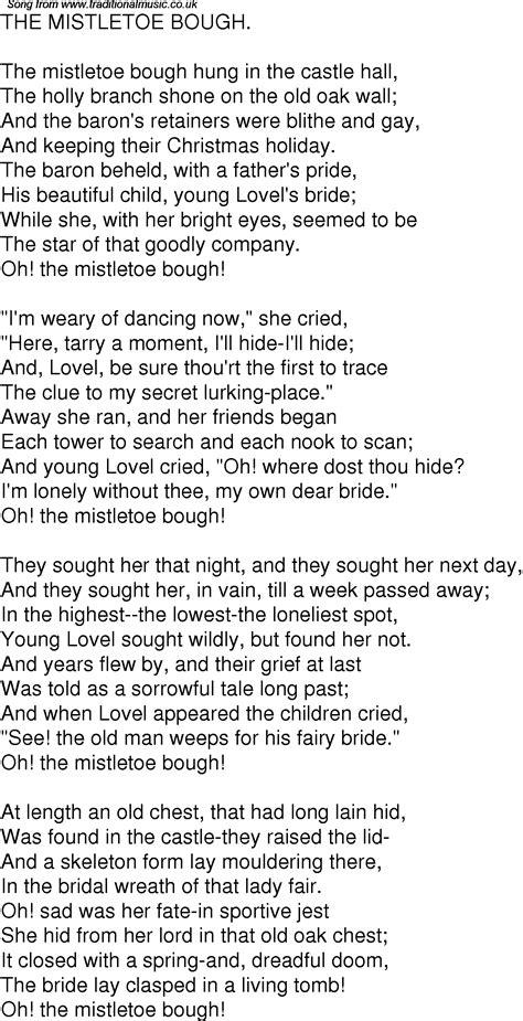 The Mistletoe Bough time song lyrics for 03 the mistletoe bough