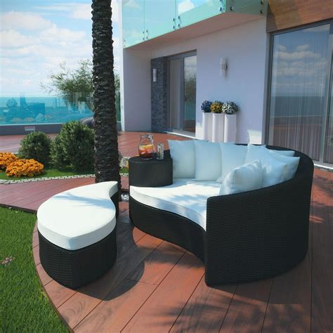 Outdoor Patio Daybed Taiji Outdoor Patio Daybed In Espresso White Patio Sofas Patio Lawn Garden