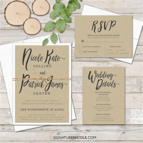 organic wedding invitations rustic wedding invitation with rsvp and detail cards delivery handwritten style
