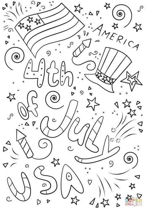 fourth of july coloring pages 4th of july doodle coloring page free printable coloring
