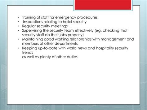 description of security department in hospitality