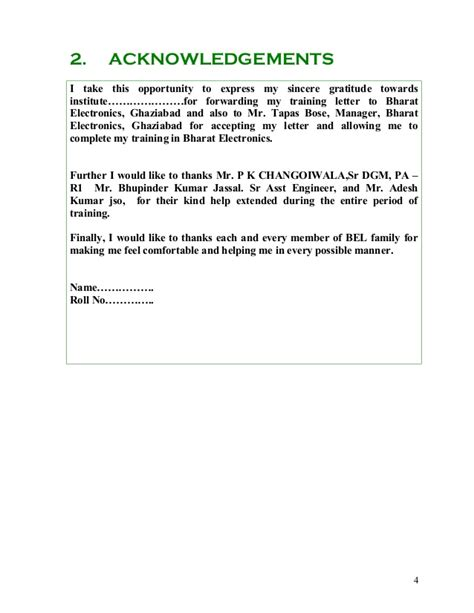 Acknowledgement Letter Format For Industrial Visit Bel Project Report