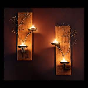 Home Interior Wall Sconces Set Of Two Candle Metal Tree Sculpture Wall By Necenterpieces
