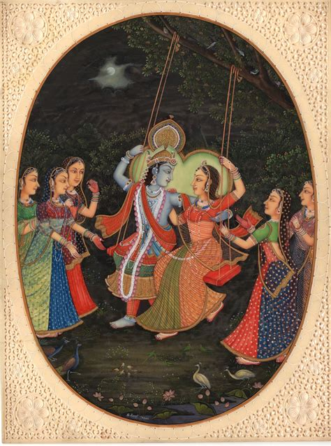 Handmade Paintings Of Radha Krishna - krishna radha painting handmade indian hindu krishn gopis