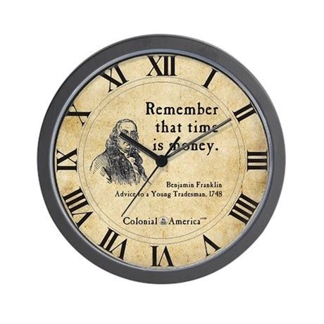 Benjamin Franklin Wall Clock   Time is Money by