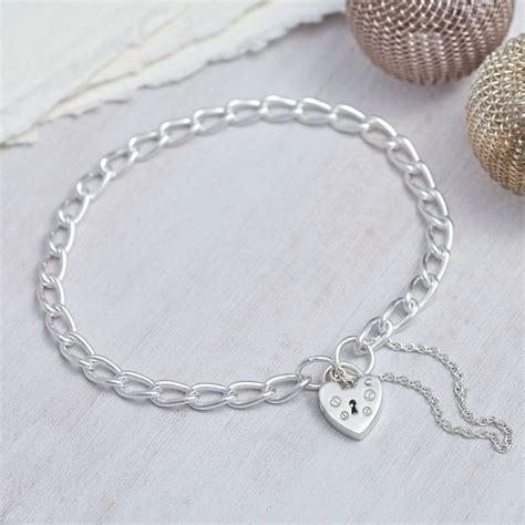 charm bracelet sterling silver padlock charm bracelet by hurleyburley