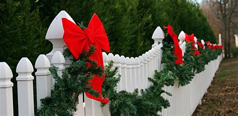 images of christmas garland on a fences outdoor yard decorating ideas