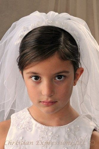 communion hairstyles with headband veil 39 best first communion headpieces images on pinterest