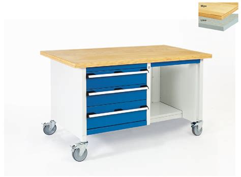 modular storage bench mobile bench with 3 drawers and open section 1500mm wide