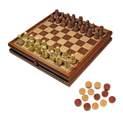 chess board amazon medieval chess checkers game set brown ivory