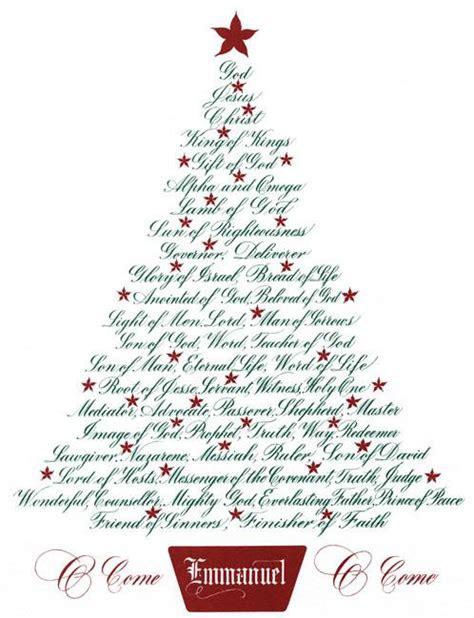 christmas tree names of jesus holly monroe calligraphy