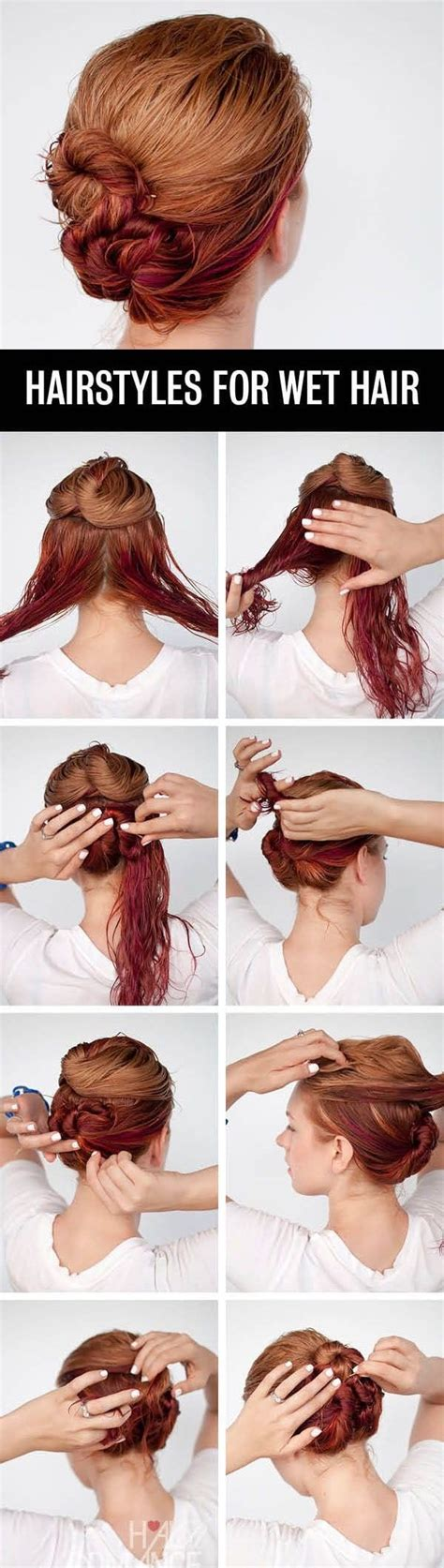 easy and quick hairstyles for wet hair 12 easy diy hairstyle tutorials for every occasion