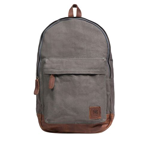 Backpack Leather Grey mahi leather canvas classic backpack rucksack in grey