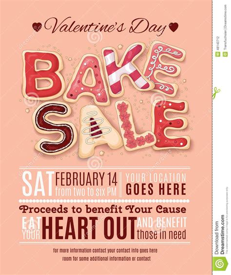 Valentine039s Day Bake Sale Flyer Template valentines day bake sale flyer template from